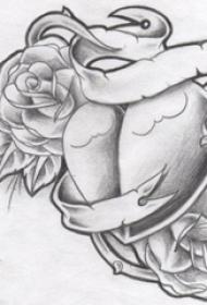 黑灰素描创意文艺唯美花朵心形纹身手稿