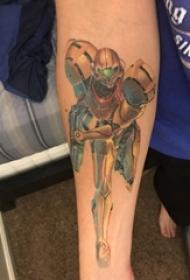 男生手臂上彩绘3d写实简单线条机器人纹身图片