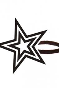 黑色线条素描文艺小清新星星纹身手稿