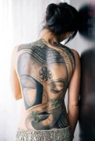 多款关于宗教普度众生的黑色点刺佛像纹身图案