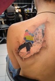 后背3d风格滑雪者彩绘纹身图案