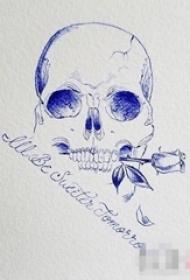 神秘的简单线条花体英文和骷髅纹身手稿