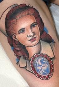 男生大腿上彩绘水彩素描创意唯美女生人物肖像纹身图片