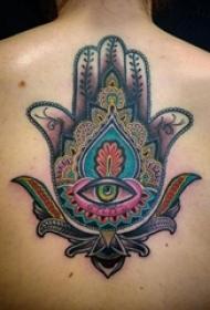 女生背部彩绘水彩素描文艺经典吉祥法蒂玛之手纹身图片