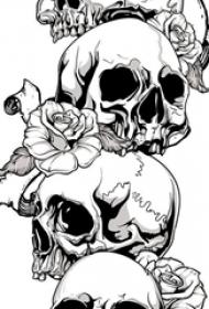 黑灰素描创意恐怖骷髅唯美玫瑰创意纹身手稿