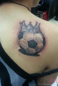 多款关于足球的黑色素描点刺技巧创意个性纹身图案