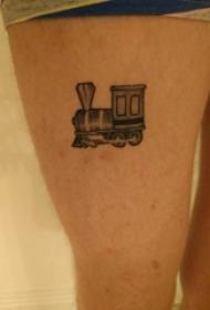 女生大腿上黑色点刺几何简单线条火车纹身图片
