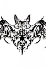 黑灰素描创意精致霸气蝙蝠纹身手稿