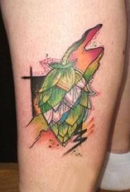 男生小腿上彩绘水彩素描文艺唯美果子纹身图片
