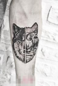 男生喜爱的凶残霸气的点刺技巧几何线条狼头纹身图案