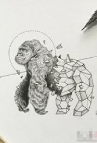 黑色线条素描创意动物猩猩几何元素抽象纹身图片