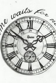 黑色线条素描文艺唯美钟表纹身手稿