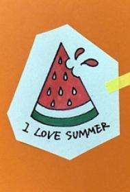 彩绘水彩素描夏日清新可爱的西瓜纹身手稿