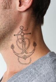男生脖子上黑色素描创意海军风船锚纹身图片