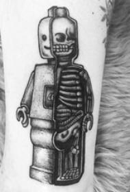 男生小腿上黑色点刺几何线条骷髅乐高纹身图片