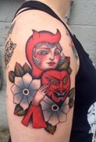 女生手臂上彩绘水彩素描文艺唯美女生人物纹身图片