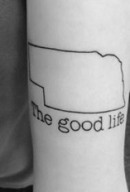 女生手臂上黑色线条文艺精美花体英文纹身图片