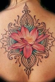多款关于唯美的彩绘抽象线条植物莲花纹身图案