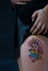 女生腿部可爱的卡通小猪字母花朵纹身图案