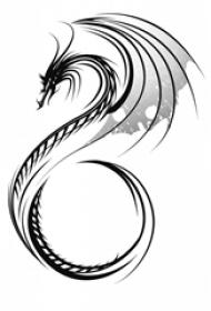 黑灰素描创意霸气龙图腾精致纹身手稿