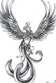 漂亮的黑灰点刺抽象线条小动物凤凰纹身手稿