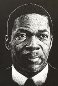 多款黑色线条素描创意经典霸气人物肖像纹身手稿