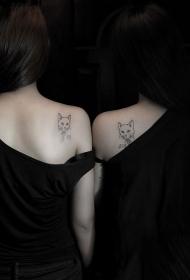 好闺蜜肩部猫咪纹身图案