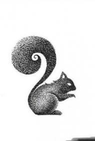 黑灰素描点刺技巧创意可爱松鼠纹身手稿