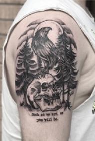 男生手臂上黑灰素描点刺技巧创意老鹰骷髅纹身图片