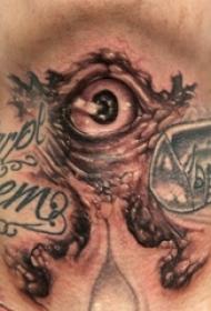 男生脖子上黑灰素描点刺技巧创意眼睛纹身图案