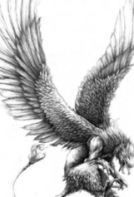 展翅高飞的黑灰色点刺动物老鹰纹身手稿