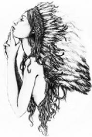 黑灰素描创意文艺唯美女生人物肖像纹身手稿