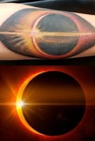 男生手臂上彩绘渐变几何简单线条日全食纹身图片