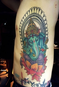 侧肋彩绘象神莲花纹身图案
