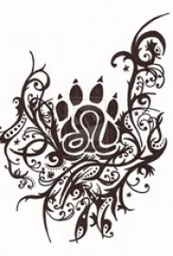 黑灰素描几何元素创意唯美花纹纹身手稿