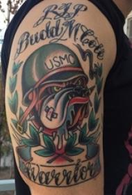 男生手臂上彩绘水彩素描创意斗牛犬纹身图片