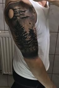 男生手臂上黑色点刺植物大树森林纹身图片