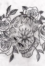 黑灰素描创意恐怖骷髅唯美花朵创意纹身手稿