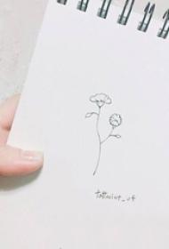 黑色线条文艺小清新的唯美花朵纹身手稿