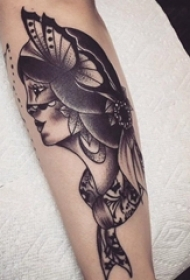 女生人物纹身图案 女生手臂上人物肖像纹身黑灰图案