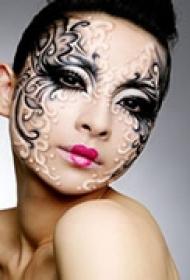 精美艺术脸部纹身