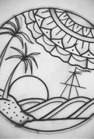 椰树纹身图 简单线条纹身椰树纹身图片