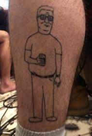 纹身卡通 男生小腿上人物肖像纹身图片