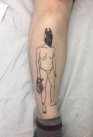 极简线条纹身 男生手臂上极简线条纹身图片