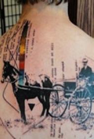 复古西部背部纹身