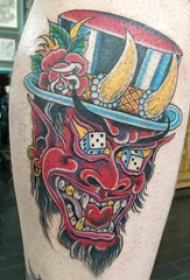 欧美小腿纹身 男生小腿上帽子和般若纹身图片
