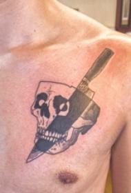纹身胸部男 男生胸部匕首和骷髅纹身图片