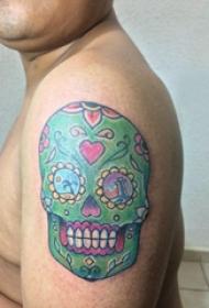 纹身骷髅头 男生手臂上骷髅纹身图片