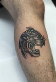 老虎纹身图案 男生小腿上老虎纹身图案