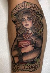 人物肖像纹身图片 男生手臂上彩色的人物纹身图片